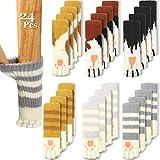 24 Pieces (6 Sets) Cat Furniture Socks Cat Paw Chair Leg Socks Knitted Furniture Socks Non Slip Chair Table Leg Floor Protectors Furniture Table Feet Covers Elastic Furniture Socks Pads