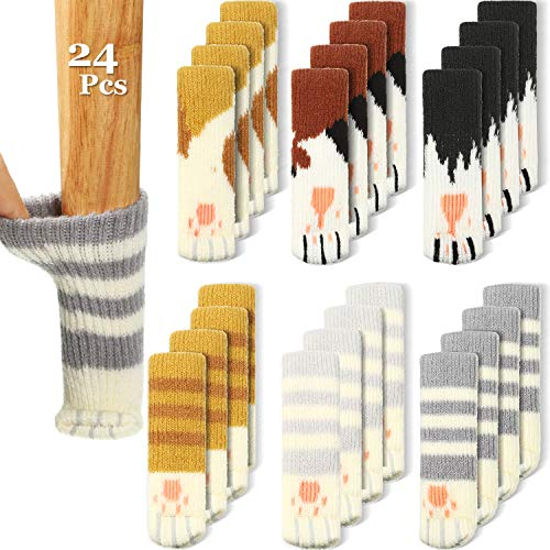 24 Pieces (6 Sets) Cat Furniture Socks Cat Paw Chair Leg Socks Knitted Furniture Socks Non Slip Chair Table Leg Floor Protectors Furniture Table Feet Covers Elastic Furniture Socks Pads
