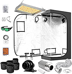 """iPower Grow Tent Kit Complete AL600W Full Spectrum LED Plant Light Lamp Indoor Hydroponics 20""""x36""""x62"""" Greenhouse Combo with 4"""" Fan Filter Ventilation, 62""""x36""""x20"""", System Setup Package for Veg Flower"""