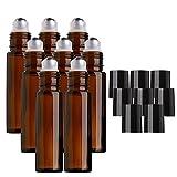MINGZE 8 piezas 10ml Botellas de vidrio ámbar con bola de metal de acero inoxidable, Botella de aceite esencial Roll-on para aceite esencial, Botella de bola de rodillo para líquido
