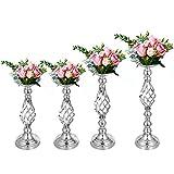 VEVOR 4 stücke Blumenständer Blumenhalter für Hochzeit Metall Kerzenständer Vasewer Tisch Stück Geliebte Tischkerzenhalter für Party Event Dinner Flowe 40,64 cm 47,24 cm 53,34 cm(Silber)