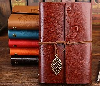 دفتر ملاحظات بغلاف جلدي من شانجبين، دفتر ملاحظات ابداعي للمذكرات اليومية، بتصميم كلاسيكي ونقوش جميلة (بني)