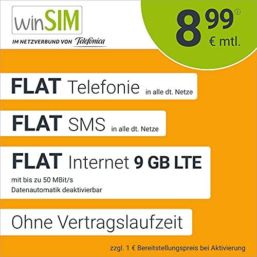 Handyvertrag winSIM LTE All 9 GB - ohne Vertragslaufzeit (FLAT Internet 9 GB LTE mit max. 50 MBit/s mit deaktivierbarer Datenautomatik, FLAT Telefonie, FLAT SMS und EU-Ausland, 8,99 Euro/Monat)