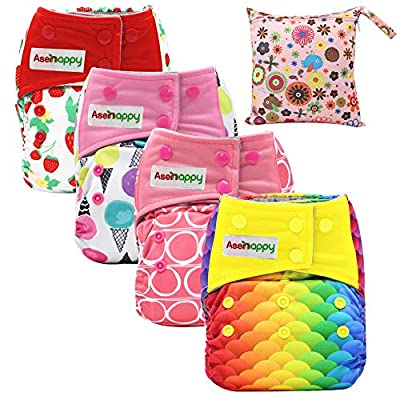 Asenappy All in One Cloth Diaper Reusable AIO Sewn Inserts with Pocket Overnight (New Print)