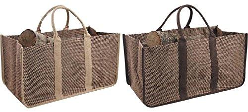 Panier sac à bûches en jute plastifiée