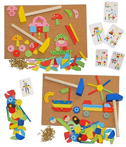 alles-meine.de GmbH XXL Set - Hammerspiel 460 Teile - Klopfspiel Nagelspiel Nagel - bunt - 4 Hammer + 2 Korkplatten - aus Holz / Hämmerchen - Hämmerchenspiel - Steckspiel - Nägel..