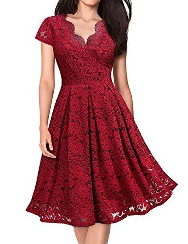 KOJOOIN Damen 1950er Vintage Brautjungfernkleider für Hochzeit Kurzes A-Linie Abendkleider, Weinrot (Kurze Ärmel), Gr.- M/38-40