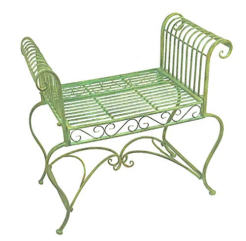 Garden-bench/Plant Stand - Wrought Iron - Antique Mint Green Finish