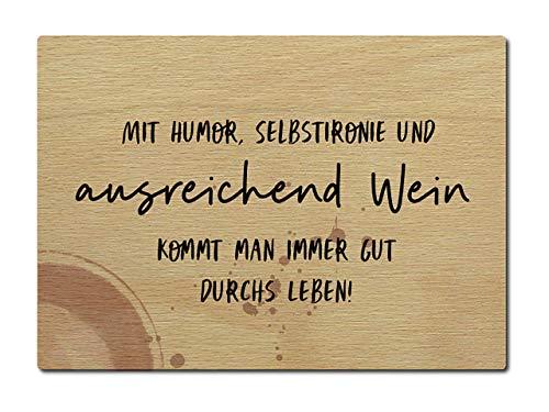 Interluxe briefkaart van hout met humor zelfironie wijn DIN A6 105x148 mm kaart echt hout wenskaart spreuk