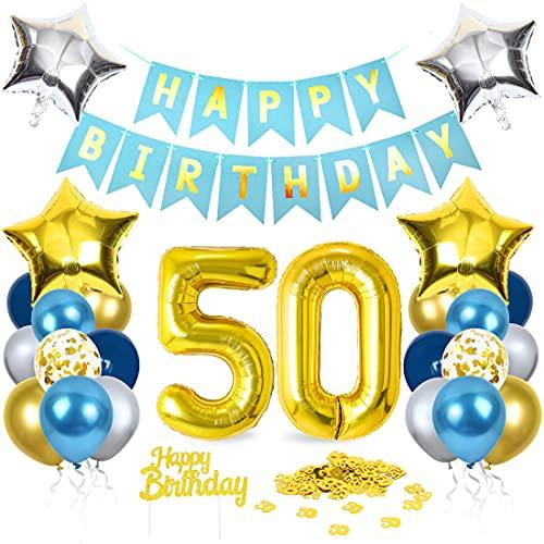 50 Anni Palloncini Compleanno, Palloncini numeri 50 Blu Oro Argento, Kit Decorazioni 50 Compleanno, 50 Anni Addobbi Compleanno Adulti Festa Decorazioni, 50 AnniBlu Oro Striscione Foil Palloncini
