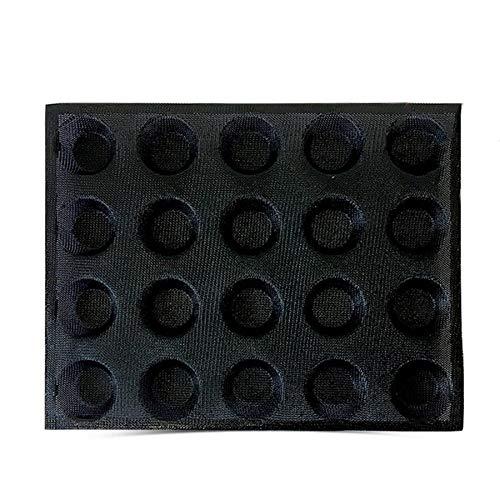 WOVELOT Molde de Silicona de 20 Agujeros Pastel T Modelo de Pizza Molde de Hamburguesa de Pan Redondo Herramienta de Bandeja para Hornear Antiadherente
