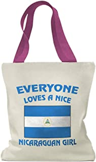 Custom Canvas Tote Shopping Bag Everyone Loves Nice Nicaraguan Girl Countries Girl
