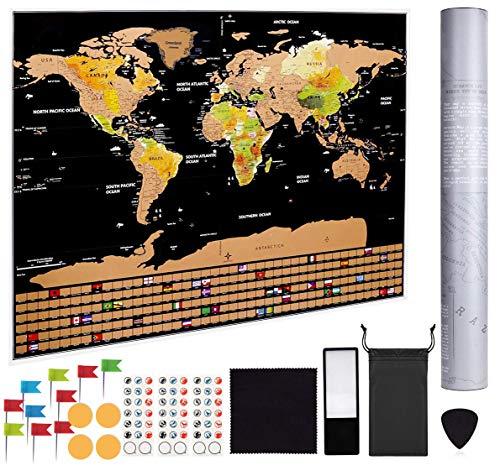 Idefair Scratch Off wereldkaart, krasbare wereldkaart Poster met kleuren achtergrond alle land vlaggen & accessoires Kits, voor reizigers