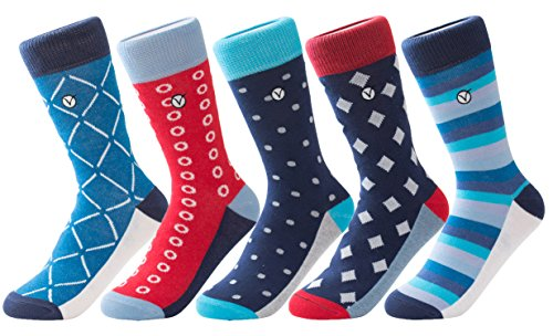 Boys 5 Pack Crew/Dress Socks – Versatile For Any Occasion By VYBE (Large, Combo 7)