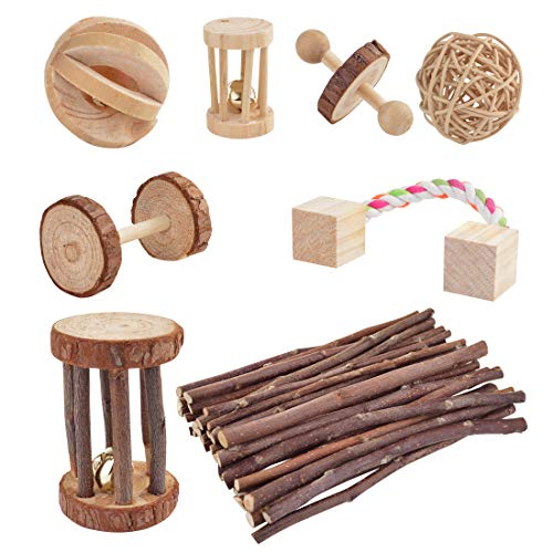 Wobe Pack of 8 Guinea Pig Toys Chinchilla Hamster Rat Toys, Bunny Gerbil Molar Wooden Natural Wooden Pine Dumbells Exercise Bell Roller Fun Pet...