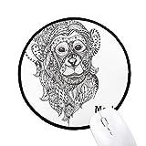 N / A Animal Big Mouth Picture Monkey Alfombrillas Redondas Antideslizantes Bordes cosidos Negros Juego Regalo de Oficina