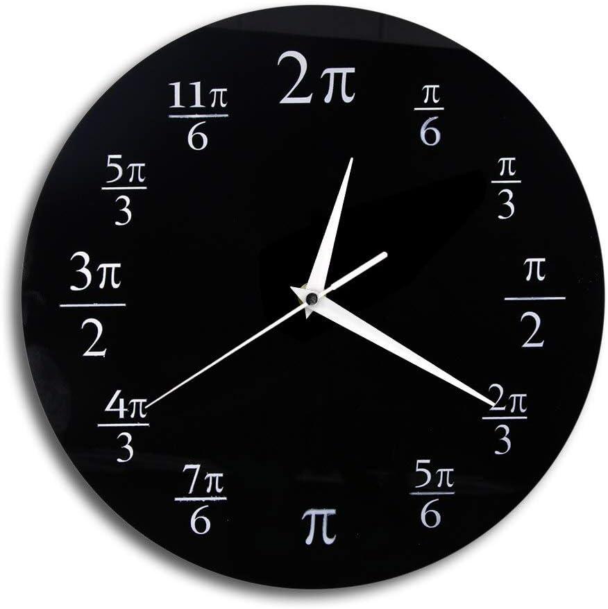 JXCDNB pi Reloj de Pared Prueba de matemáticas Reloj de salón Raro Grande Reloj de Pared Decorativo para Amantes de Las matemáticas Familiares 12 Pulgadas