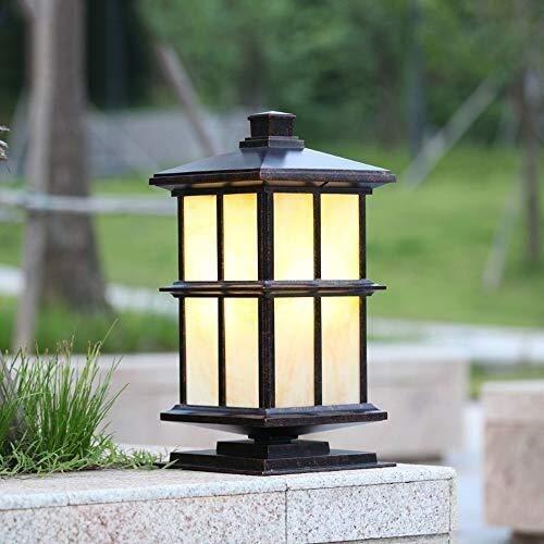 Colonna/Luce a lampione, Lampada a colonna solare Outdoor Messaggio luce tradizionale Patio recinto Stigma Bollard lampada impermeabile della via di paesaggio Lanterna Giardino Garage Illuminazione de