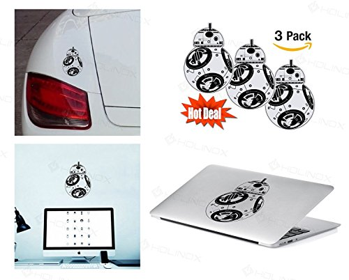 Holinox Pack of 3 Stickers Decal (Star Wars BB8)