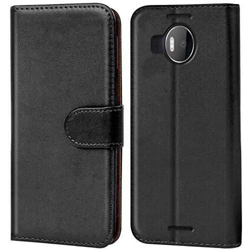 Verco Lumia 950 XL Hülle, Handyhülle für Microsoft Lumia 950 XL Tasche PU Leder Flip Hülle Brieftasche - Schwarz