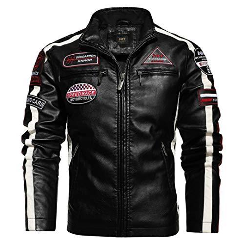 Chaqueta de Cuero para Hombre de Cuero de Motocicleta Hit Color Plus Velvet PU Chaqueta de Cuero para Hombre Chaqueta de Cuero Bordada