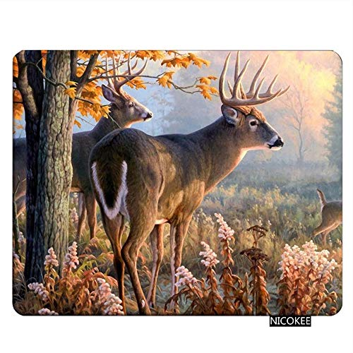 Nicokee Deer Gaming Mousepad Whitetail Deer with Sunshine Painting Mouse Pad Rectangle Mouse Mat for Computer Desk Laptop Office 9.5 X 7.9 Inch Non-Slip Rubber