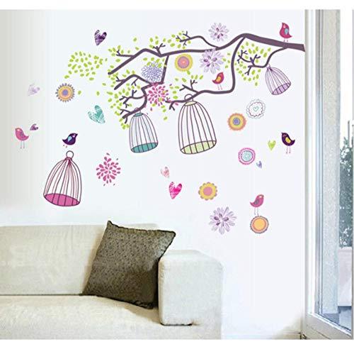 Bunter Vogelkäfig für Kinder Babyzimmer Wandaufkleber Papier Dekor Aufkleber 70cmx100cm