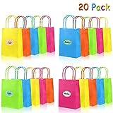 aovowog 20 Sacs en Papier Cadeaux Kraft avec Poignées Torsadées 5 couleurs et 25 autocollants dans un sac pour Cadeaux et...