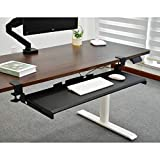 Seville Classics Airlift 360 Clamp Sliding Keyboard Tray Extra-Wide Shelf Computer Desk Accessory, 31.5', Black
