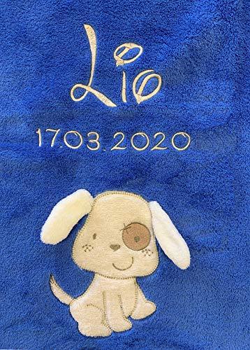 Babydecke bestickt mit Name und Geburtsdatum/kuschelig weich / 1A Qualität (Blau - DOG)
