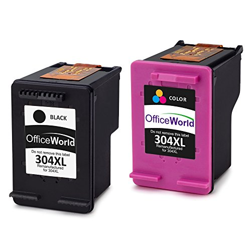 OfficeWorld 304XL Cartuchos Remanufactured HP 304 Cartuchos de Tinta Compatible con HP Envy 5030 5020, HP DeskJet 2630 2630 3720 3730 3732 3735 (1 Negro, 1 Color)