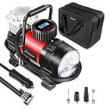 Avid Power Tire Inflator Pump, Portable Air Compressor 12V 125 PSI with Digital Display Gauge, LED Flashlight, Extra Nozzle Adaptors