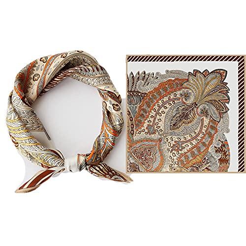 WRF Womens Pañuelo Sunscreen Square Bandanas Turban, All Seasons Multifuncional Ladies Tie Shawl,Bufandas 100% para hombre de seda, Scarf de bebé (planta) 55x55cm