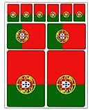 Biomar Labs® 10 x Vinyl Aufkleber Autoaufkleber Stickers Fahne Flagge Portugal Portugiesisch Auto Moto Motorrad Fahrrad Scooter Fenster D 30