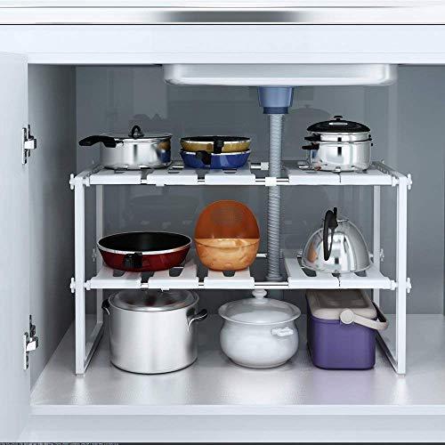 Weißes, verstellbares, ausziehbares Multifunktions-Regal für Küche, Badezimmer usw.