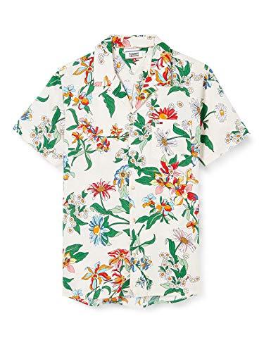 Tommy Jeans Herren TJM Allover Camp Shirt Hemd, Beige (Pop Floral Print), X-Large