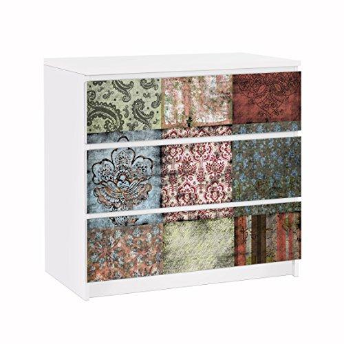 Apalis Möbelfolie für IKEA Malm Kommode Klebefolie Dekorfolie Old Patterns 3X 20 x 80cm