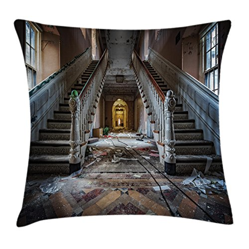 "Ambesonne Rustic Throw Pillow Cushion Cover, Destroyed Main Entrance Hallway of Ravaged Opera House with Symmetric Stairs Photo, Decorative Square Accent Pillow Case, 16"" X 16"", Brown Beige"