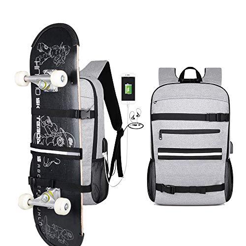 Laptop Notebook Rucksack Daypack Schulrucksack, Rollbrett Skateboard Backpack, Reise Backpack Multifunktion, Mit USB Ladeanschluss, Herren Männer Schul, 17 Zoll, Wasserdicht, Nachtreflexstreifen