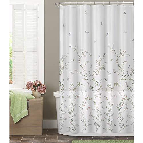 MAYTEX Dragonfly Garden Semi Sheer Fabric Shower Curtain, 70x72(inches), Multi