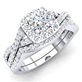 Dazzlingrock Collection 1.80 Carat (ctw) 10K Round Cubic Zirconia CZ Bridal Halo Engagement Ring Set, White Gold, Size 7