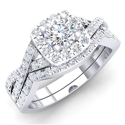 Dazzlingrock Collection Juego de anillos de compromiso de diamantes blancos redondos de 1,00 quilates (piedra central de 0,51 quilates), oro blanco de 14 quilates, talla 4