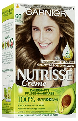 Garnier Nutrisse Creme Coloration Karamell Dunkelblond 60 Färbung, 3er Pack (3 x 1 Stück)