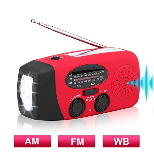 Solar Hand Crank Emergency Weather Radio ,NOAA / AM / FM Portable Radio with 3 LED Flashlight 1000mAh Power Bank Cellphone Charger