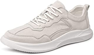 XUJW-Shoes, Athletic Shoes for Men Sports Shoes Lace Up Style Pigskin Leather Simple Solid Color Comfortable Round Toe Durable Comfortable Walking Shopping (Color : White, Size : 7.5 UK)