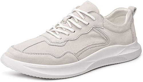 EGS-schuhe Sportschuhe Herren Sportschuhe Schnürschuhe SchWeißsleder Einfache Volltonfarbe Bequeme runde Kappe,Grille Schuhe (Farbe   Weiß, Größe   43 EU)