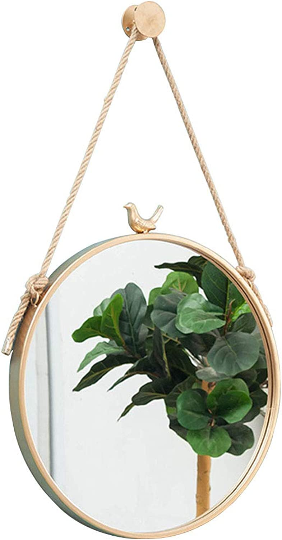 11.8-31.5 Inch Round Wall Mirror Bird Decorative Mirror Retro Metal Frame Wall Hanging Mirror Creativity Dressing Mirror Bathroom Living Room Hallway (gold)