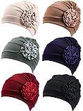 6 Pieces Women Turban Flower Caps Elastic Beanie Headscarf Vintage Headwrap Hats(Vintage Colors)