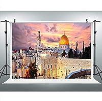新しいエルサレムの街並みサンセットドームの岩の背景写真の9x6FTイスラエルの街並みの背景写真ブーススタジオ小道具670