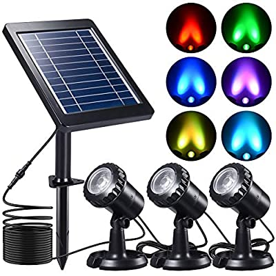 Submersible Solar Pond Light, PChero RGB LED Landscape Spotlights IP68 Underwater Night Lights for Fountain Pool Waterfall Fish Tank Aquarium Garden Outdoor, 3 Led Lamps and Solar Panel Included